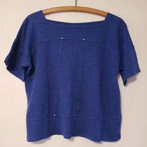 Eileen Fisher Navy Linen Crop Top